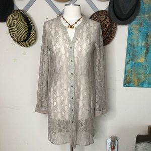 Mystree beige sheer lace duster tunic